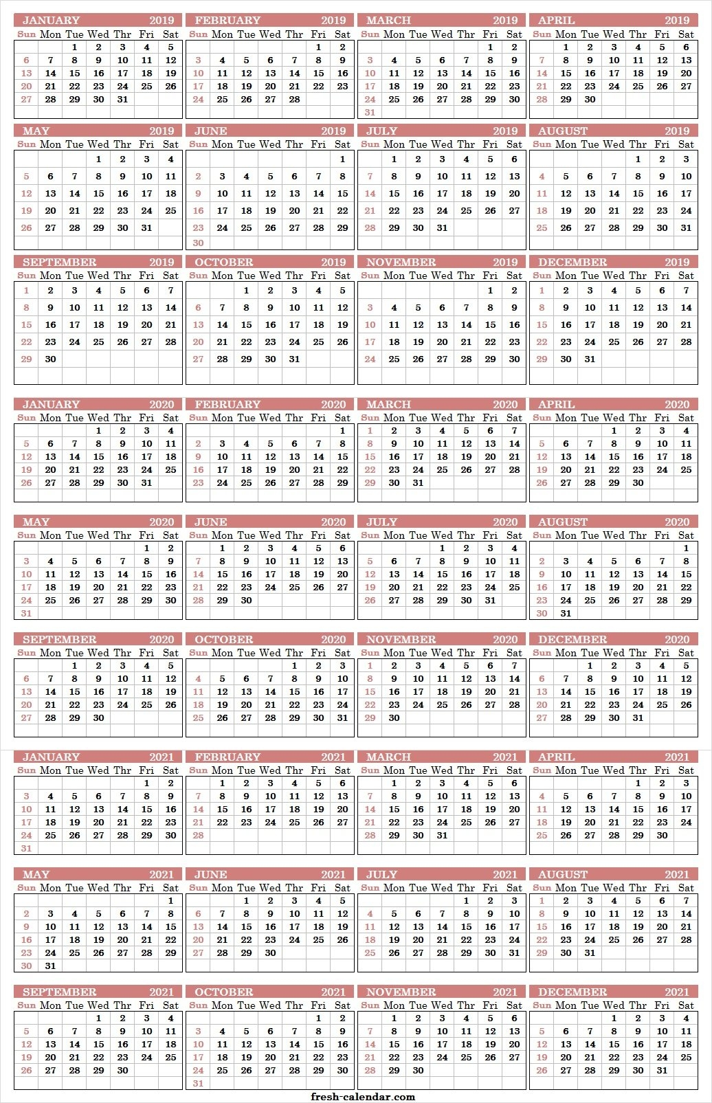 Three Yearly Calendar 2019 2020 2021 Printable Free | Blank Template 3 Year Calendar 2019 To 2021 Printable