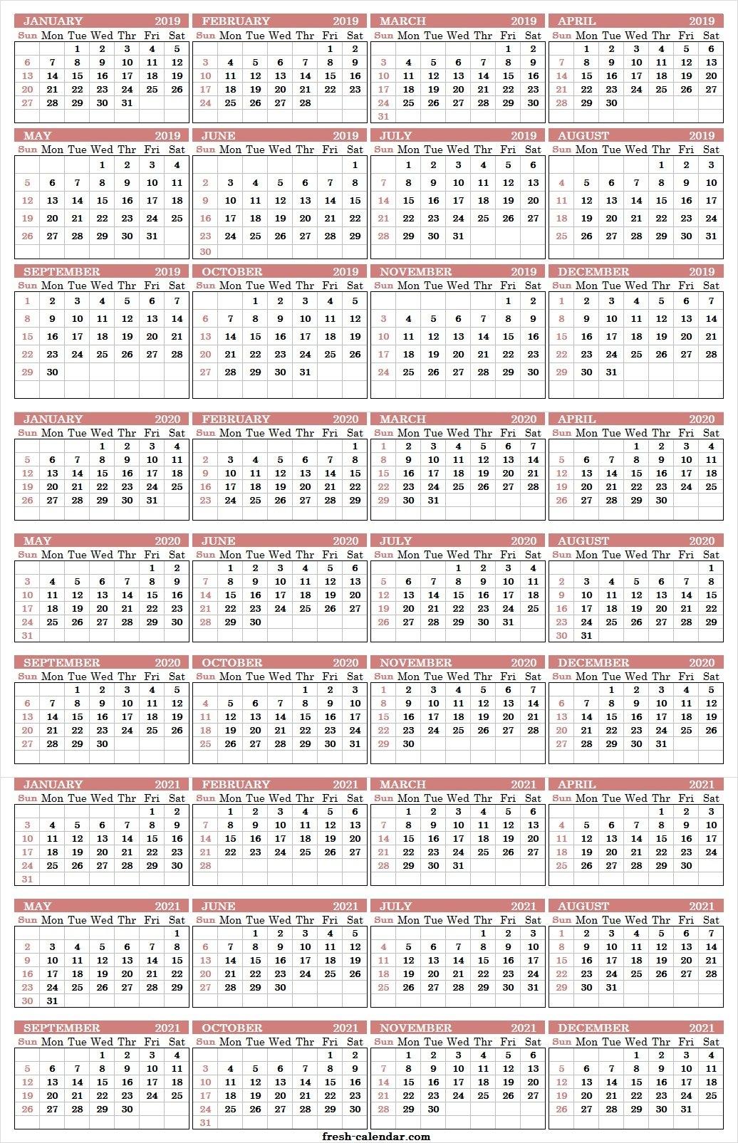 Three Yearly Calendar 2019 2020 2021 Printable Free | Blank Template 3 Year Calendar 2019 To 2021