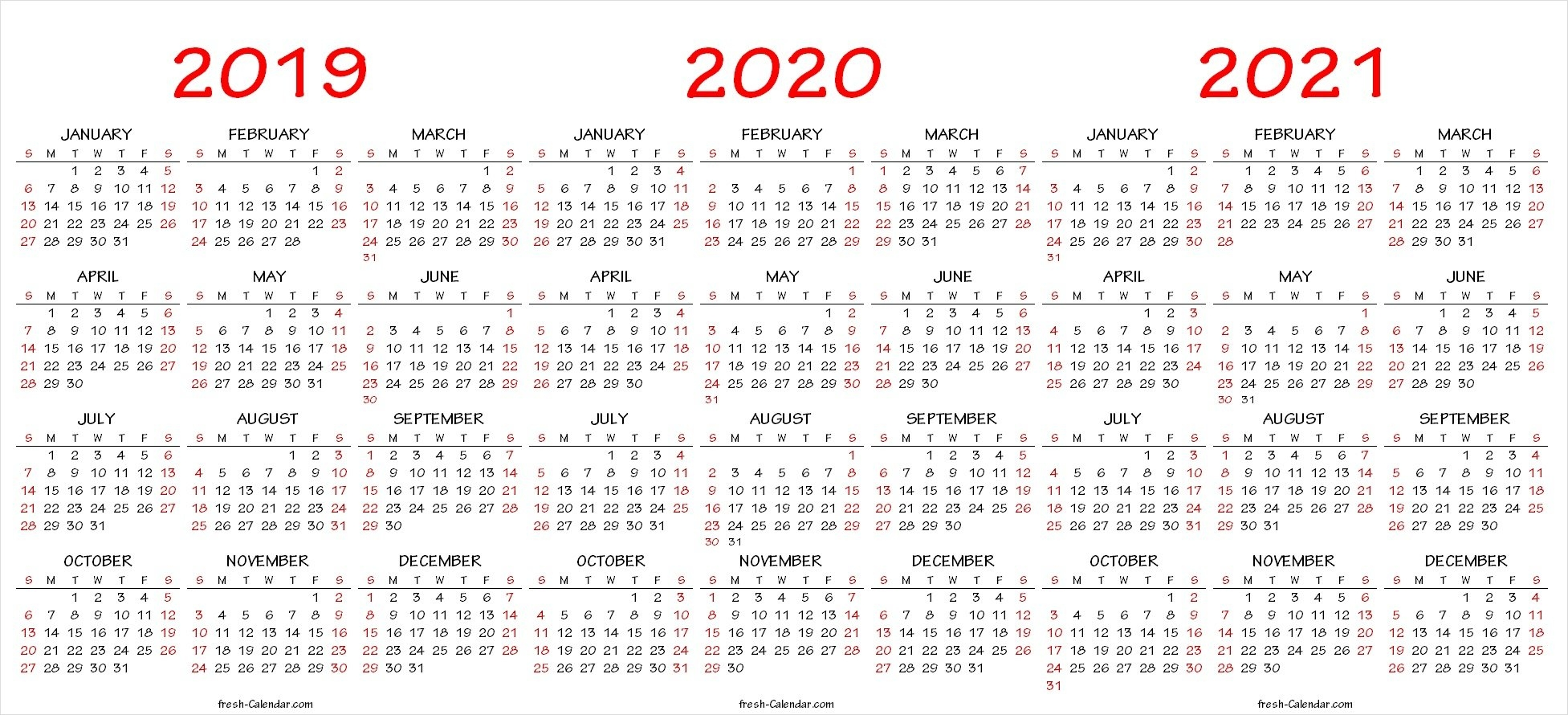 Three Yearly Calendar 2019 2020 2021 Printable Free | Blank Template Calendar 2019 To 2021