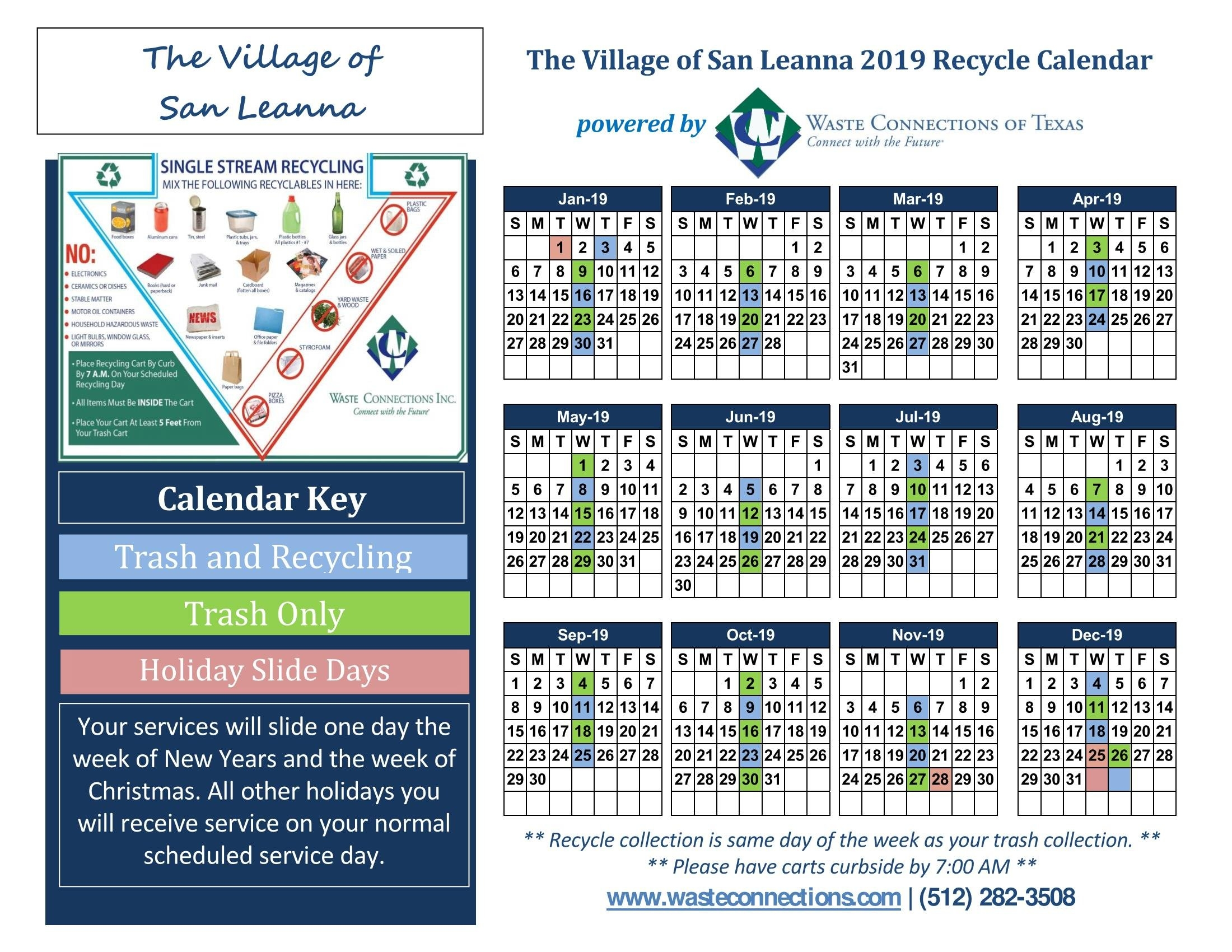 Trash And Recycling Calendar 2019 – Village Of San Leanna Calendar 2019 Same As