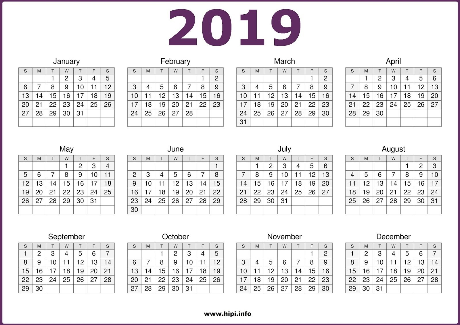 Twitter Headers / Facebook Covers / Wallpapers / Calendars: 2019 Calendar 2019 1 Page