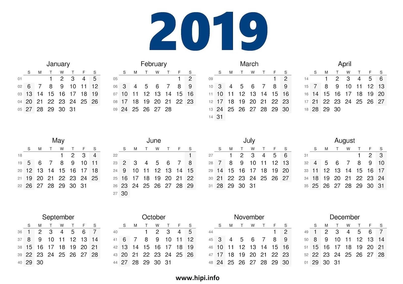 Twitter Headers / Facebook Covers / Wallpapers / Calendars: 2019 Calendar 2019 In One Page
