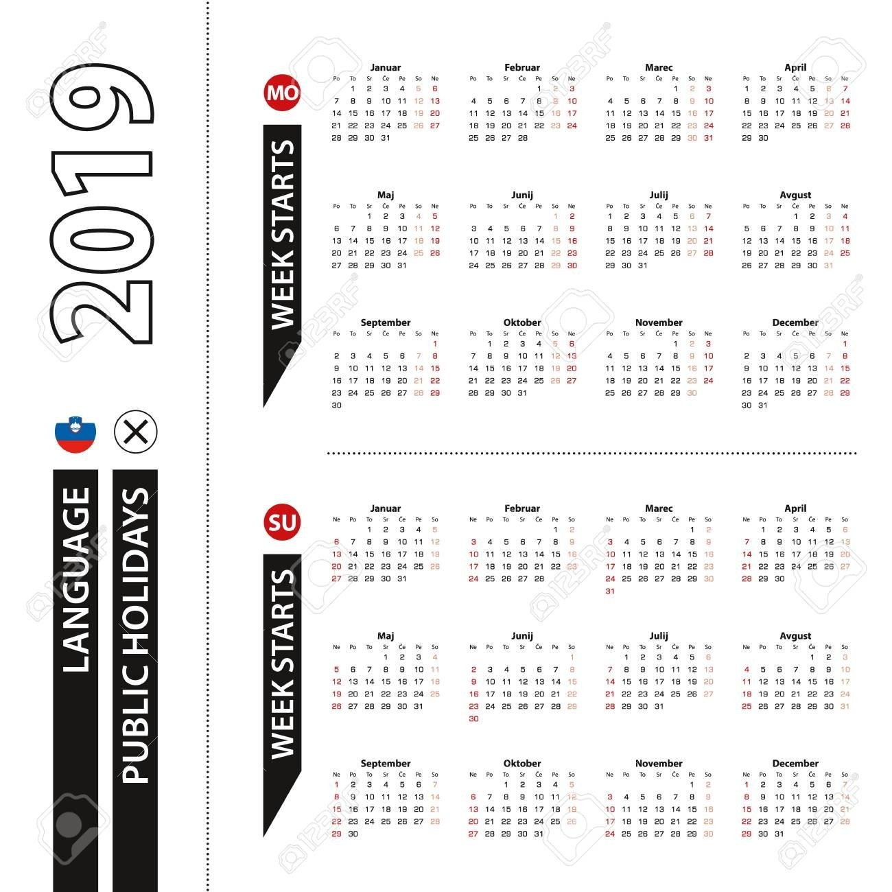 Two Versions Of 2019 Calendar In Slovenian, Week Starts From Calendar Week 50 2019