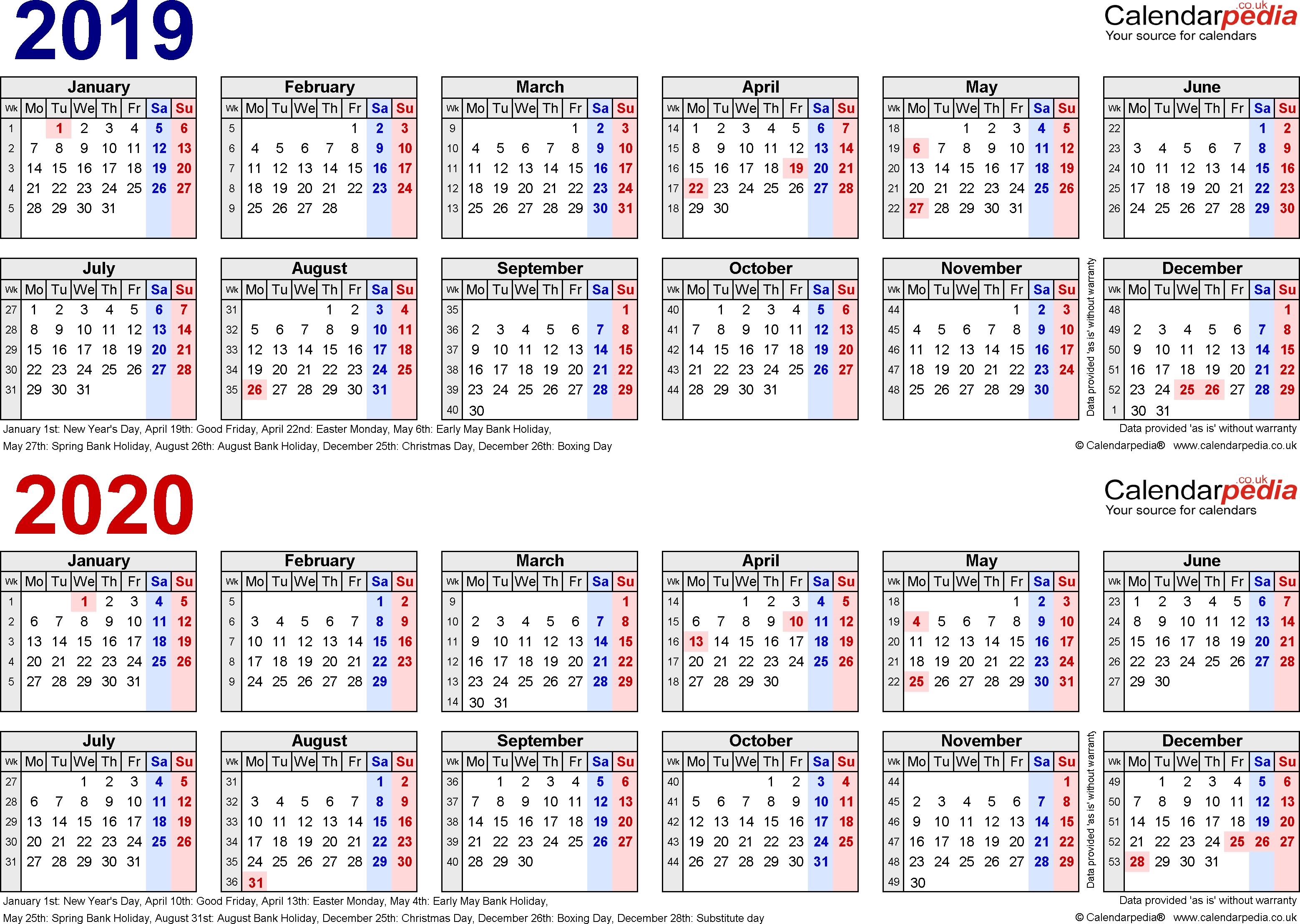Two Year Calendars For 2019 & 2020 (Uk) For Word Calendar 2019 To 2020