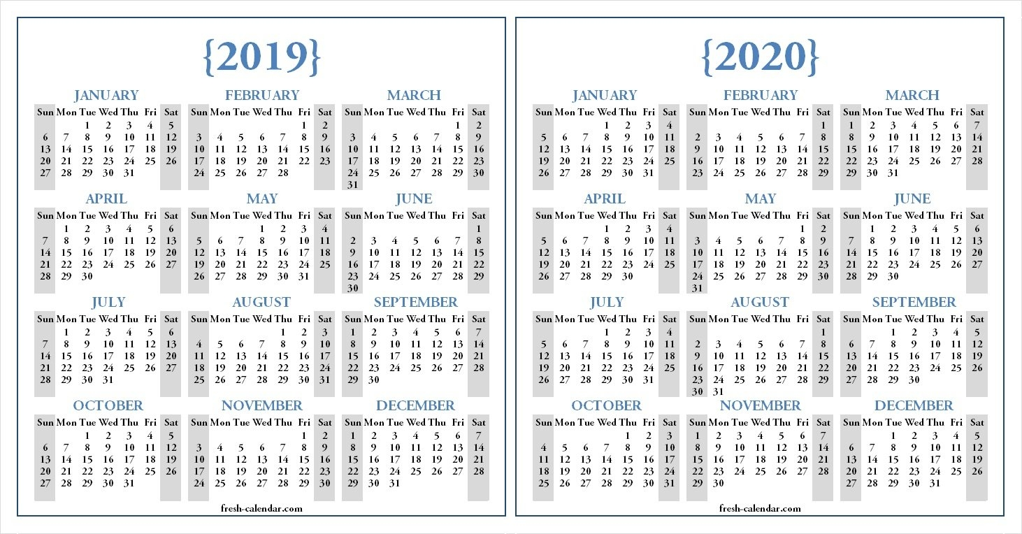 Two Yearly 2019 2020 Calendar Printable | Blank Calendar Template Calendar 2019 And 2020