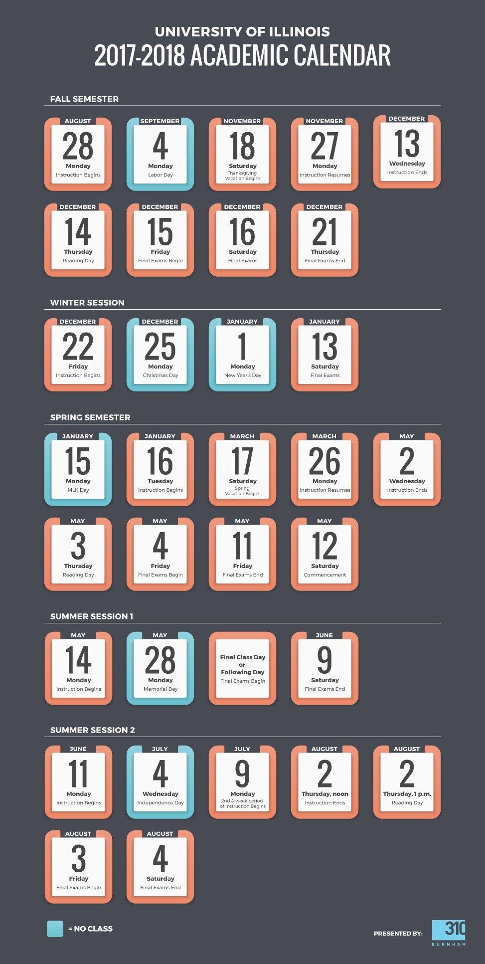 Uiuc Academic Calendar 2017-2018: School Schedule Infographic Calendar 2019 Uiuc