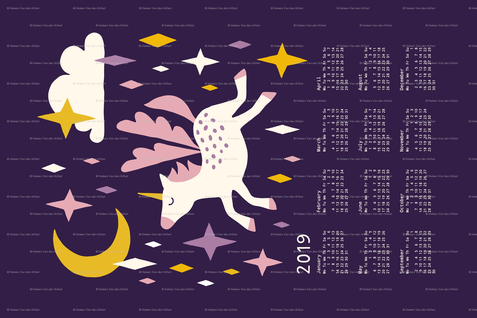 Unicorn Calendar 2019 Purple Wallpaper - Heleen_Vd_Thillart Calendar 2019 Unicorn