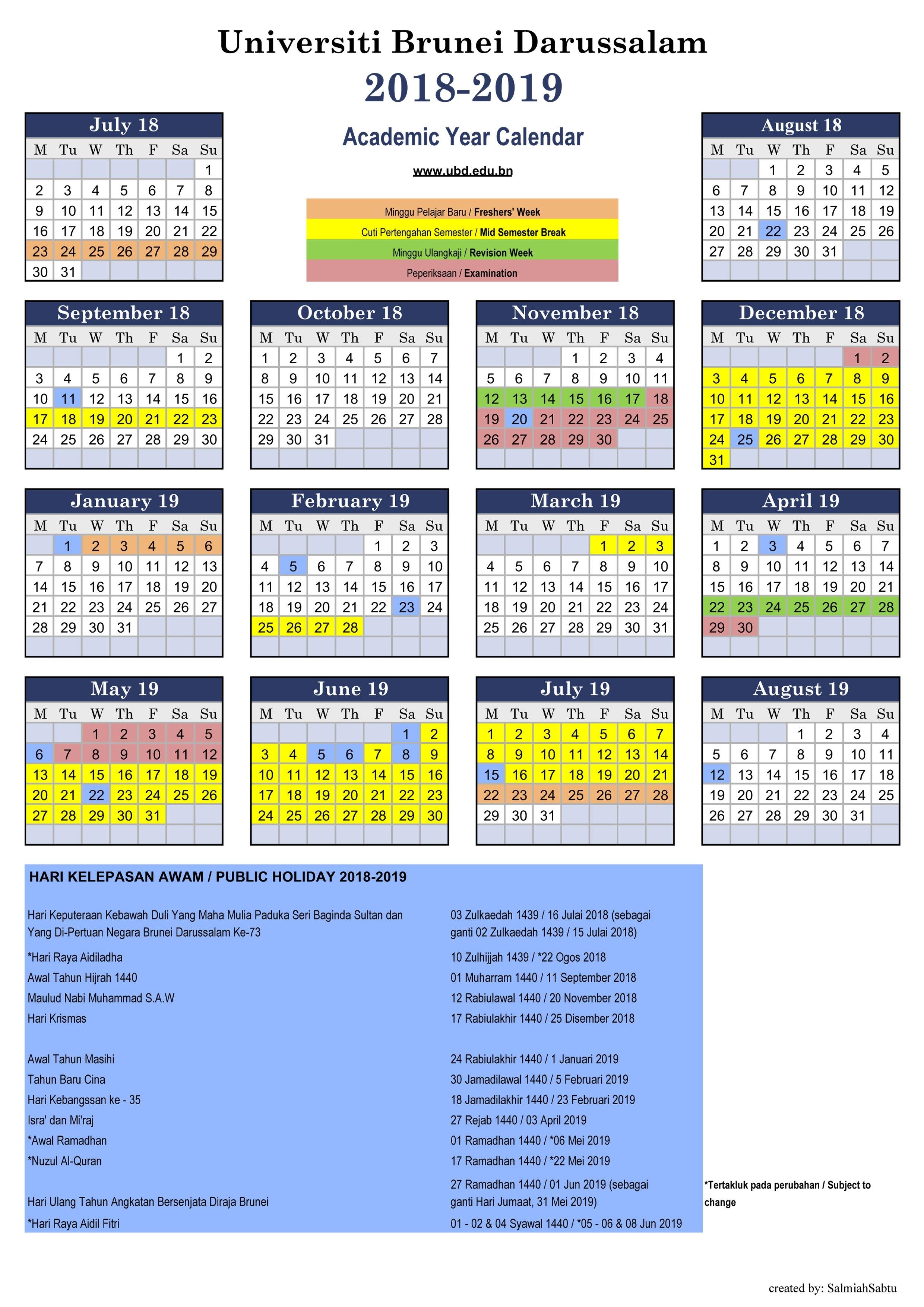 Universiti Brunei Darussalam Calendar 2019 Bulan 3