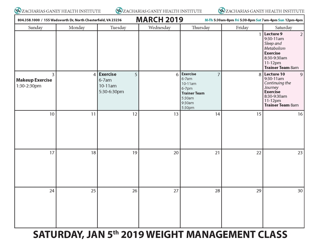 Upcoming 10 Wk Healthy Lifestyle Weight Management Class Calendars W&m Calendar 2019