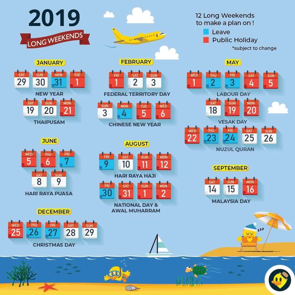 Updated With School Holiday) 12 Long Weekends For Malaysia In 2019 Calendar 2019 Raya