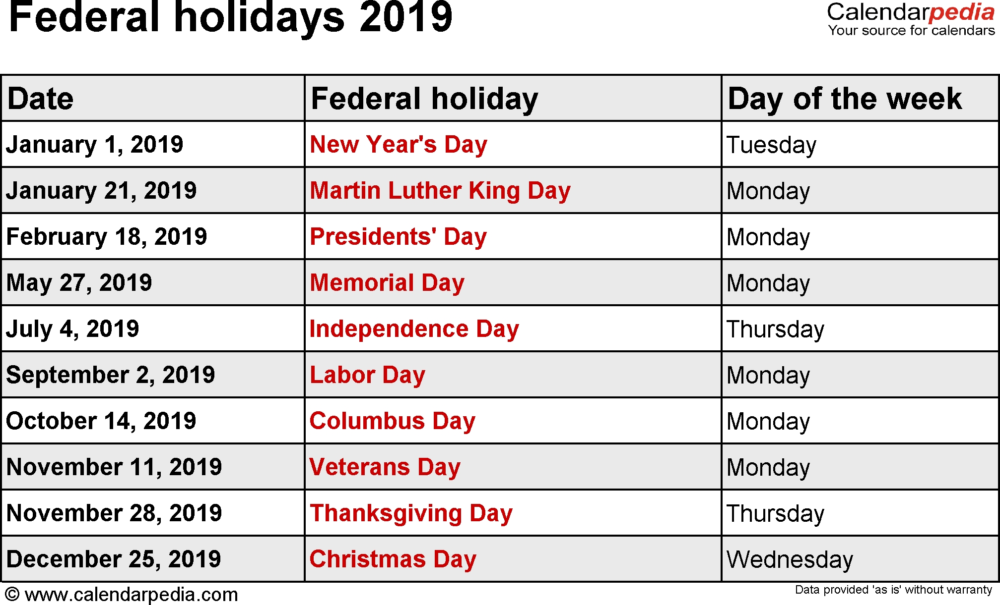 Us Federal Holidays | 2019 Calendar Us | 2019 Usa Holiday Dates | Us Calendar 2019 Holiday Dates