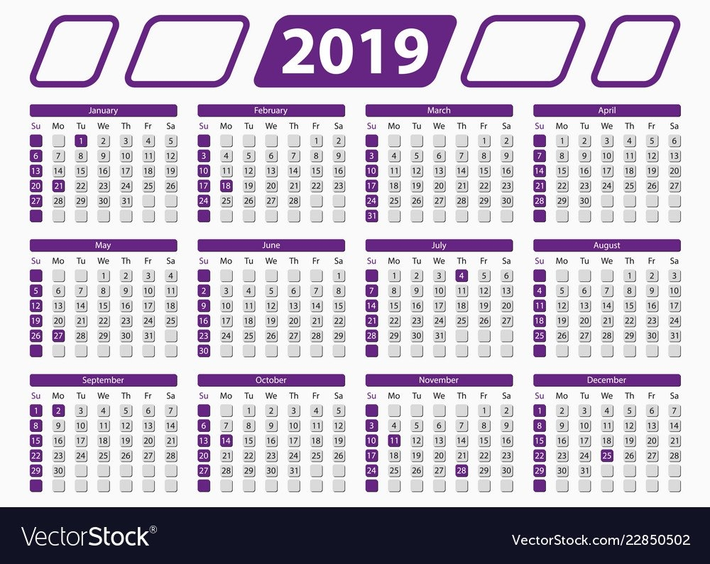 Usa Calendar 2019 With Official Holidays 5X7 In Vector Image Calendar 2019 5X7