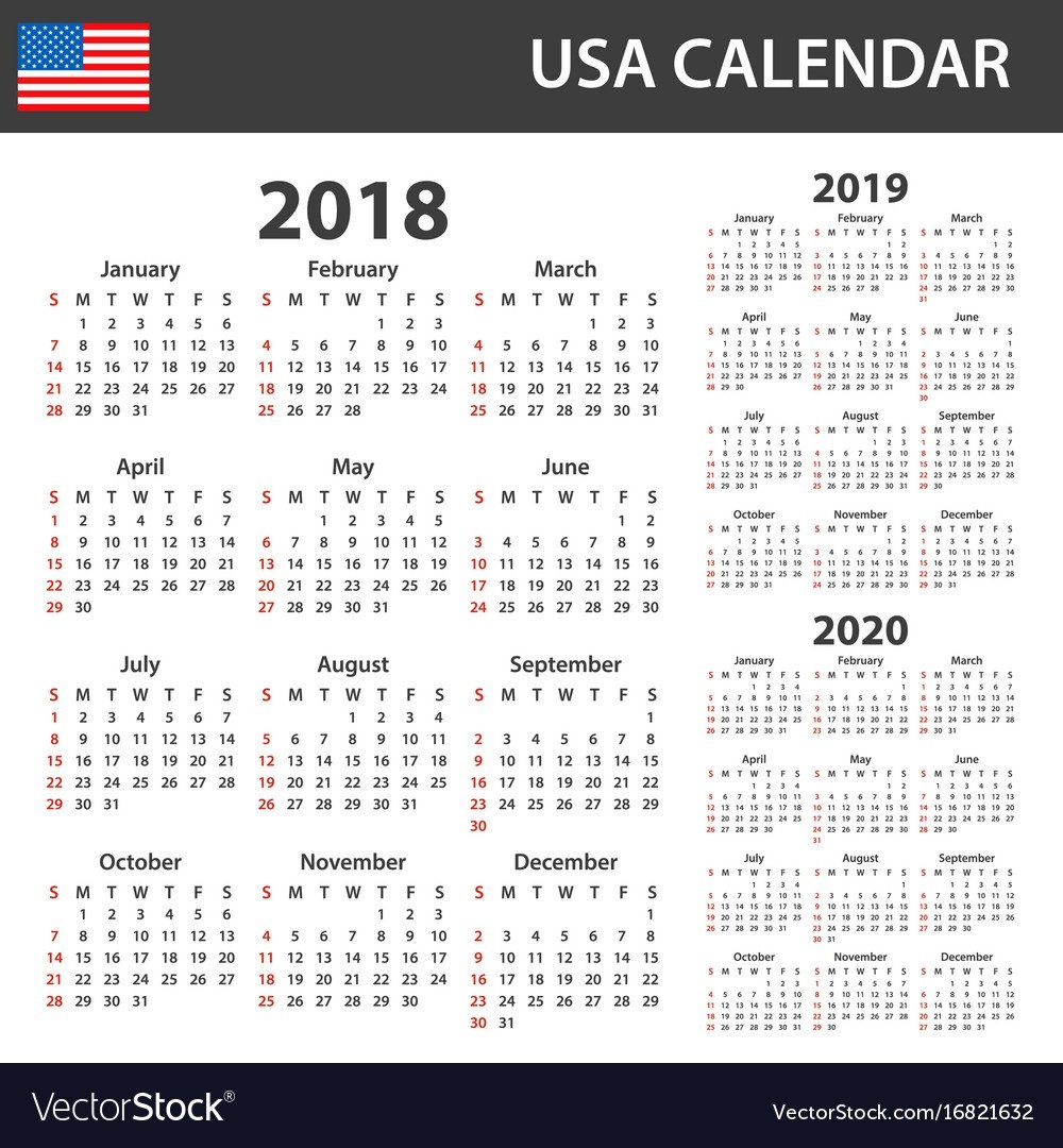 Usa Calendar For 2018 2019 And 2020 Scheduler Vector Image $1 Calendar 2019
