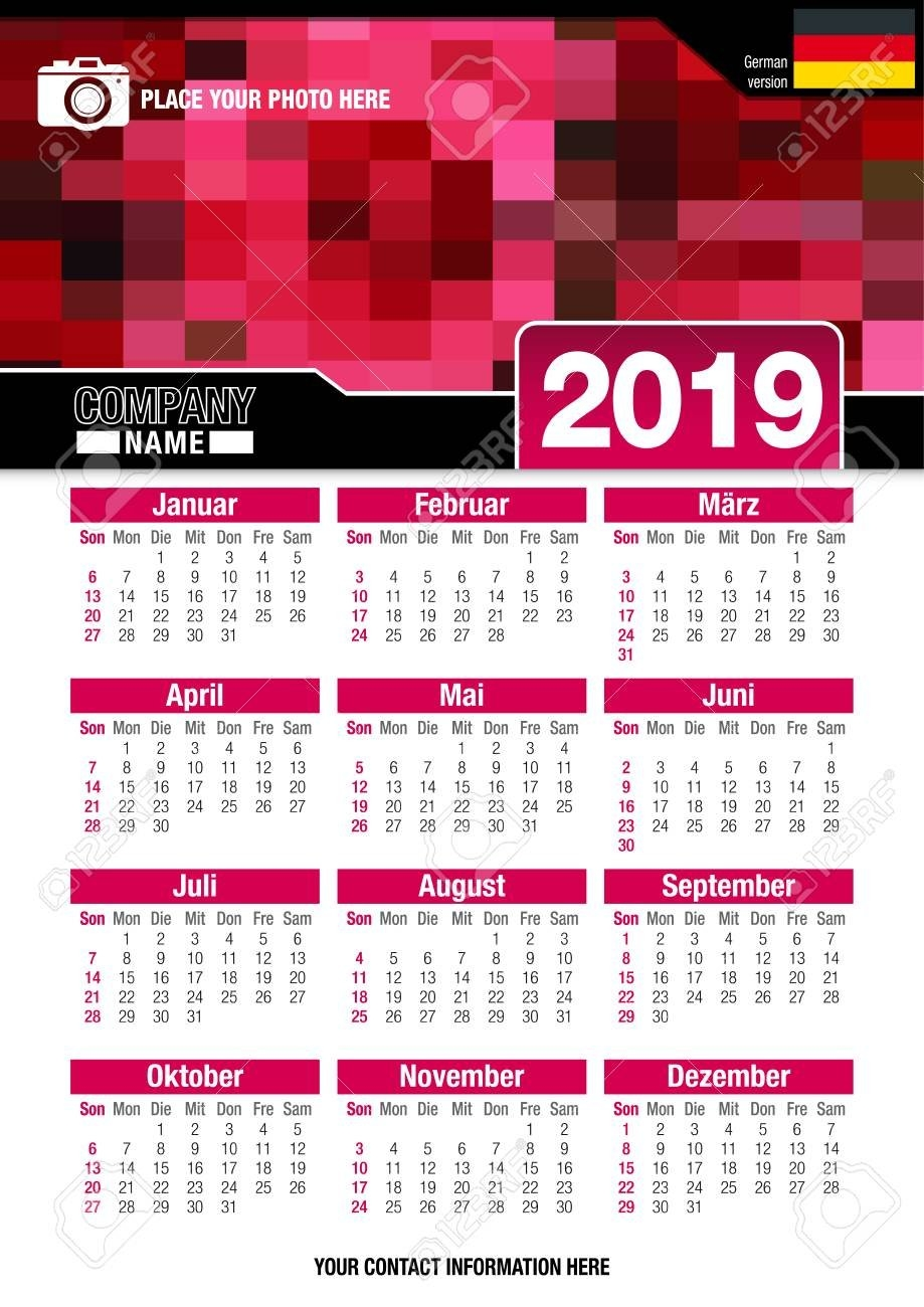 Useful Wall Calendar 2019 With Design Of Red Colors Mosaic. Vertical X Files Calendar 2019