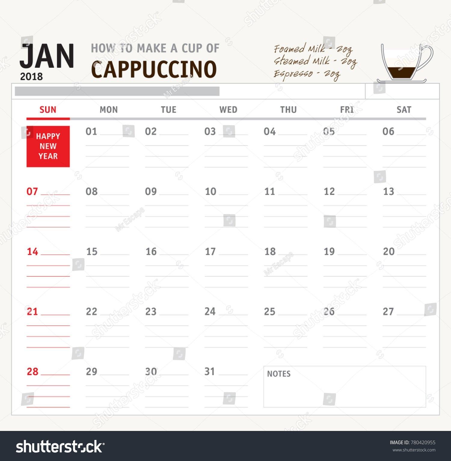 Vector Calendar 2018 January Purchase Get Stock Vector (Royalty Free Calendar 2019 Purchase