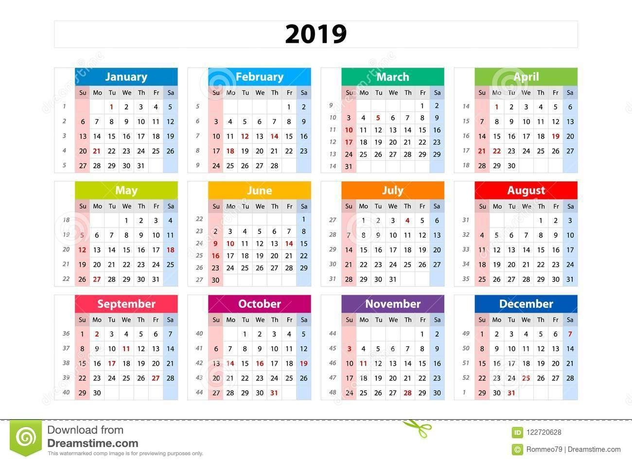 Vector Calendar 2019, Week Starts From Sunday, Business Template Calendar Week 41 2019