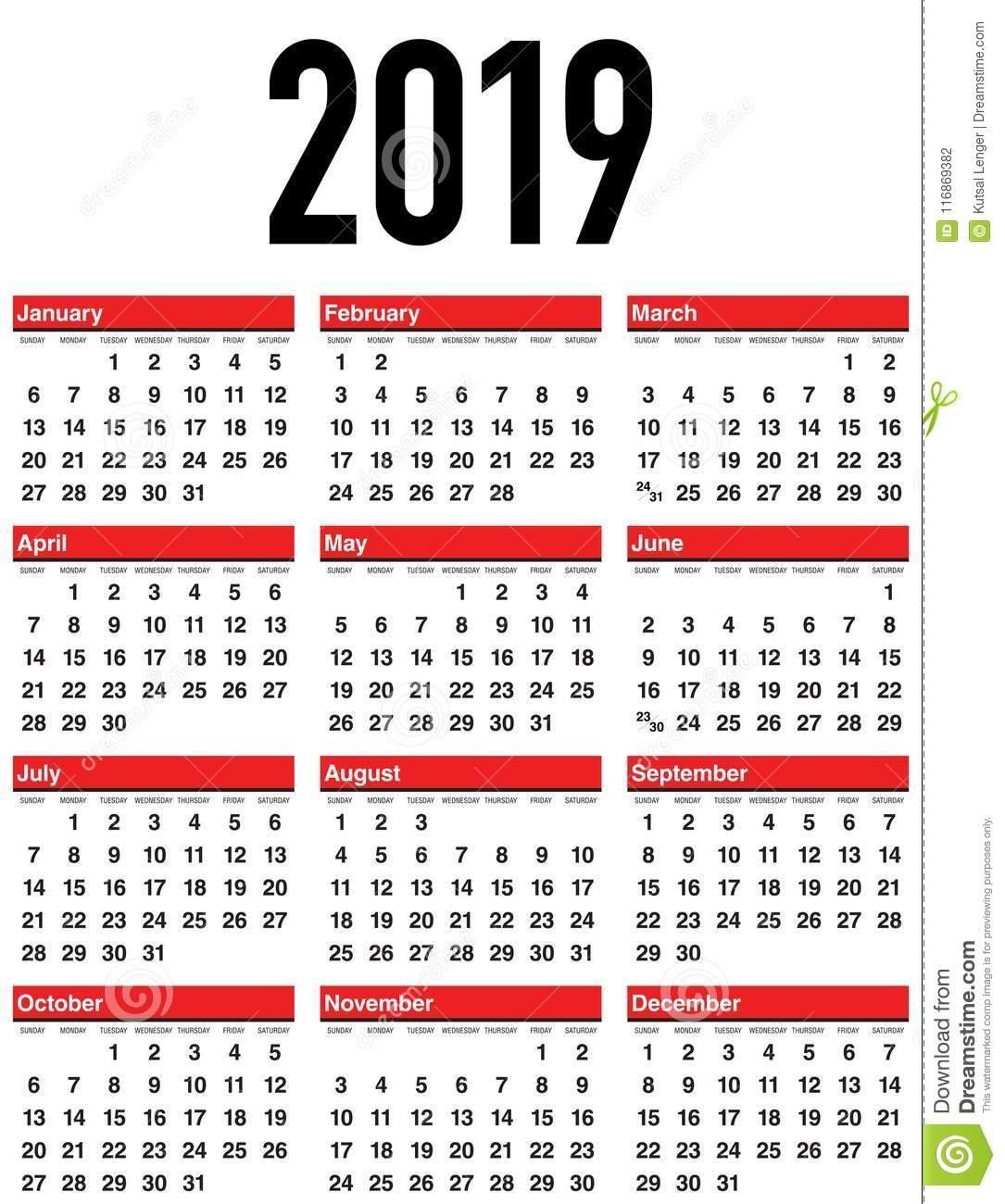 Vector Calendar 2019. Week Starts From Sunday. Stock Illustration Week 8 Calendar 2019