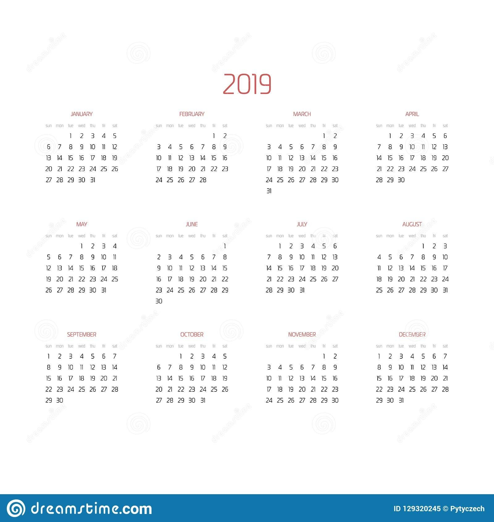 Vector Calendar - Year 2019. Week Starts From Sunday. Simple Flat Maroon 5 Calendar 2019