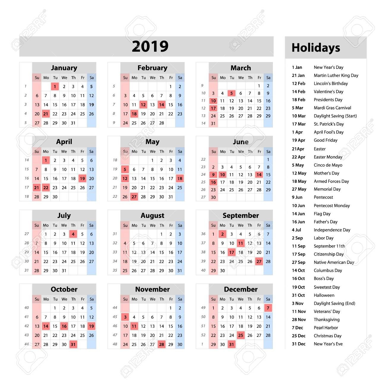 Vector Simple Calendar 2019 – One Year At A Glance – Starts Monday At A Glance Calendar 2019