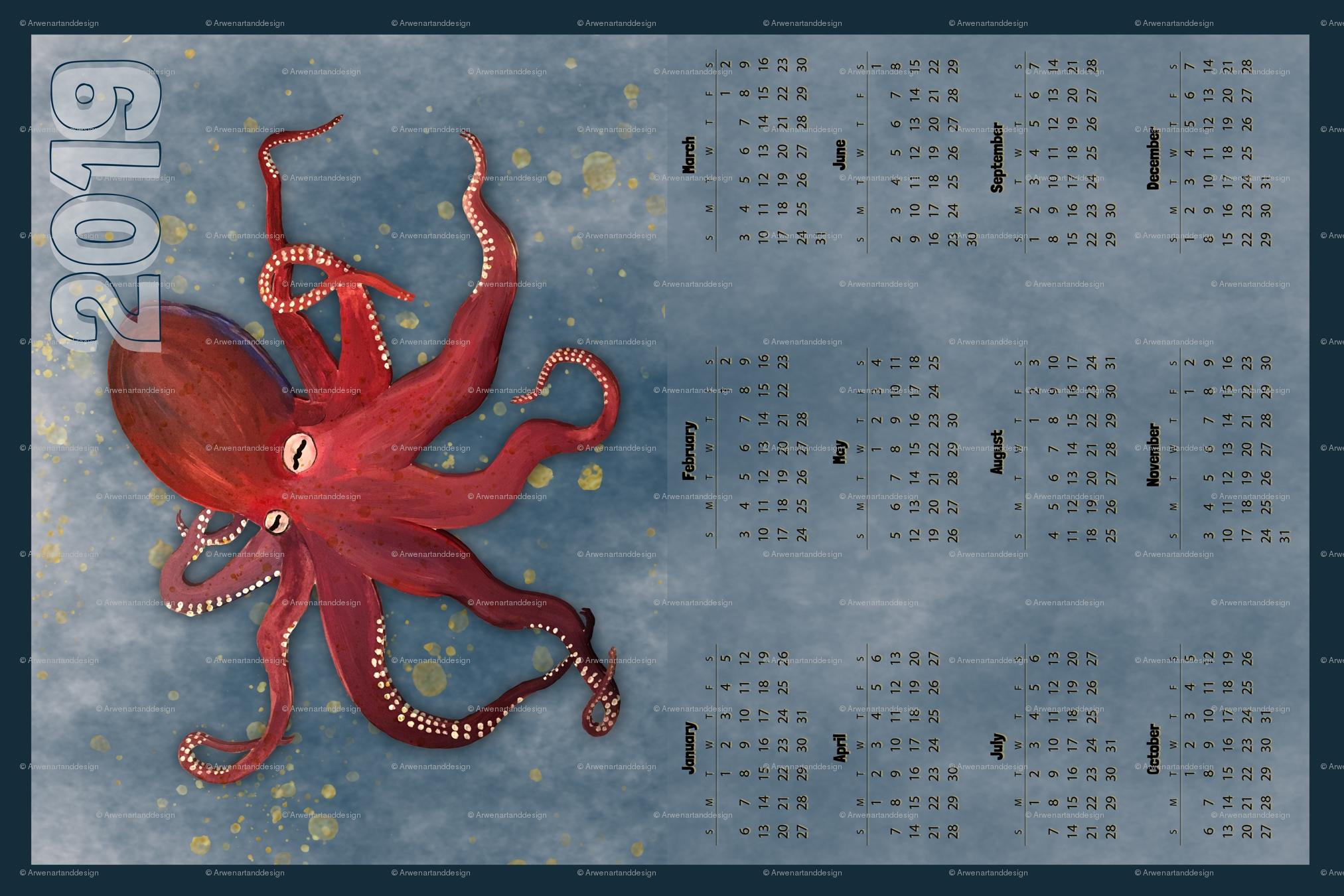Vertical Red Octopus Calendar - 2019 Fabric - Arwenartanddesign Calendar 2019 Octopus
