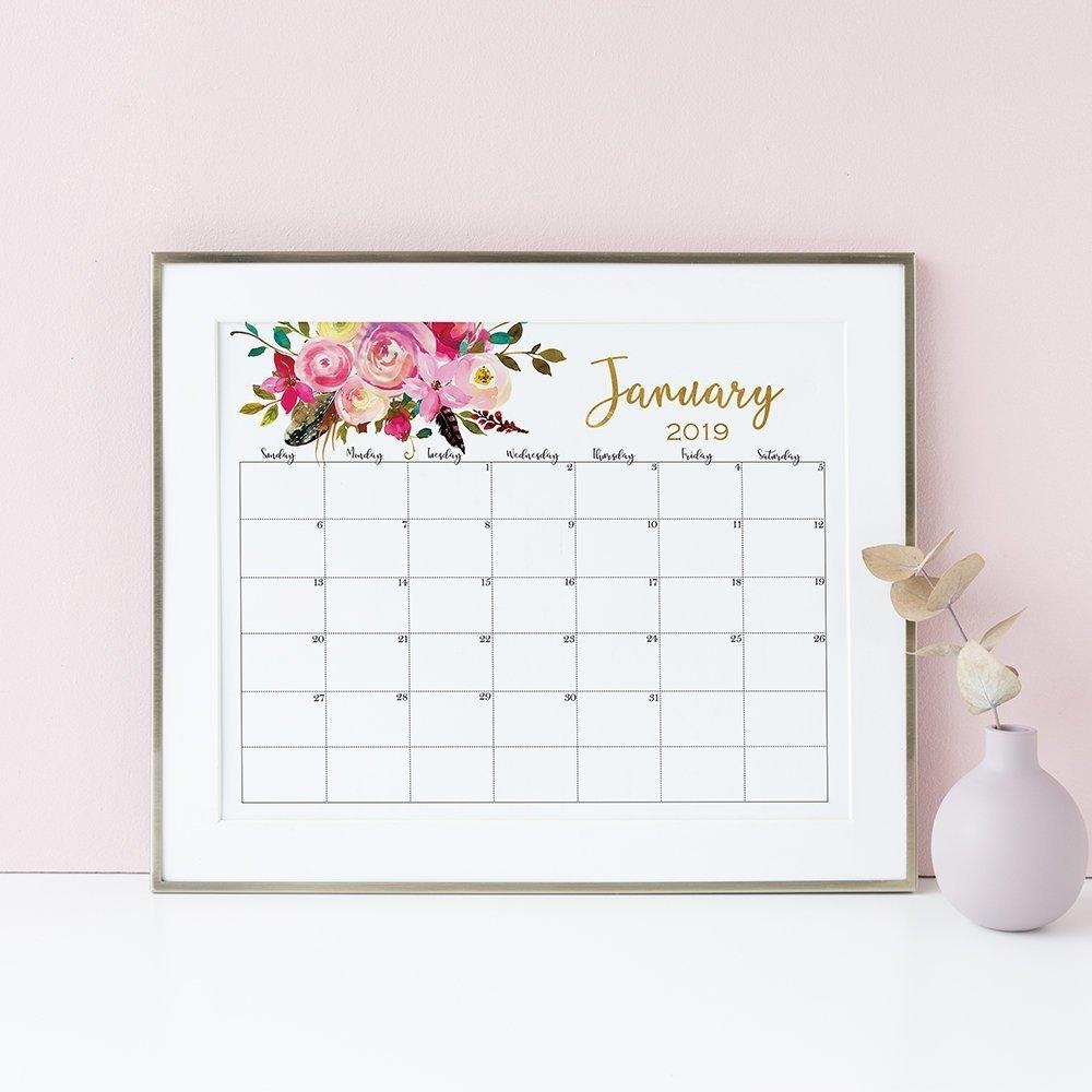 Wall Calendar 2019 Boho Printable Calendar Floral Watercolor | Etsy Calendar 2019 Etsy