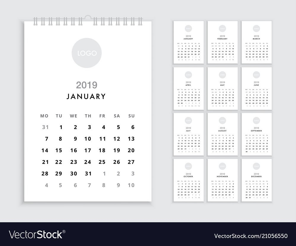 Wall Calendar 2019 Template Royalty Free Vector Image Calendar 2019 Template
