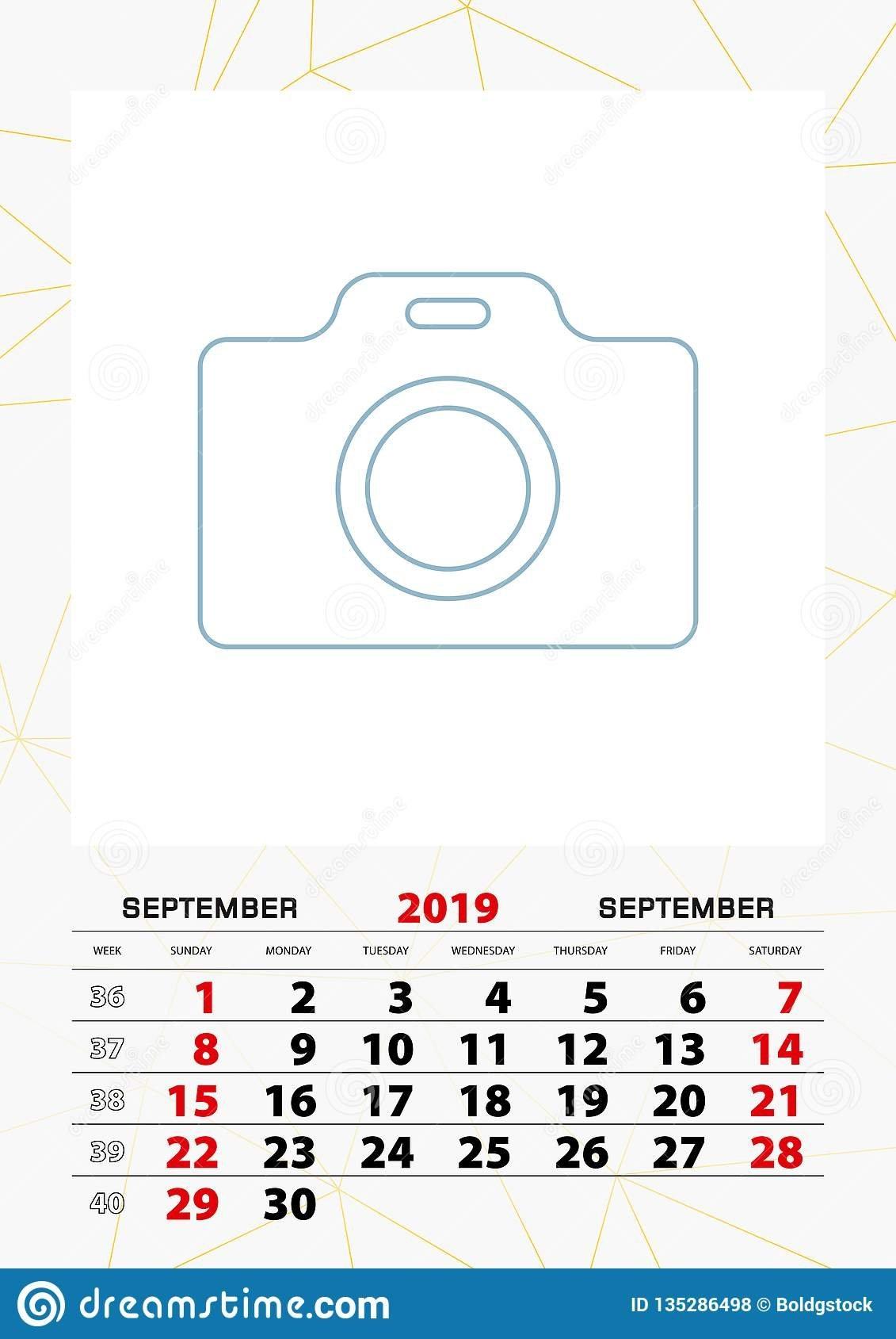 Wall Calendar Planner Template For September 2019, Week Starts On Calendar Week 39 2019