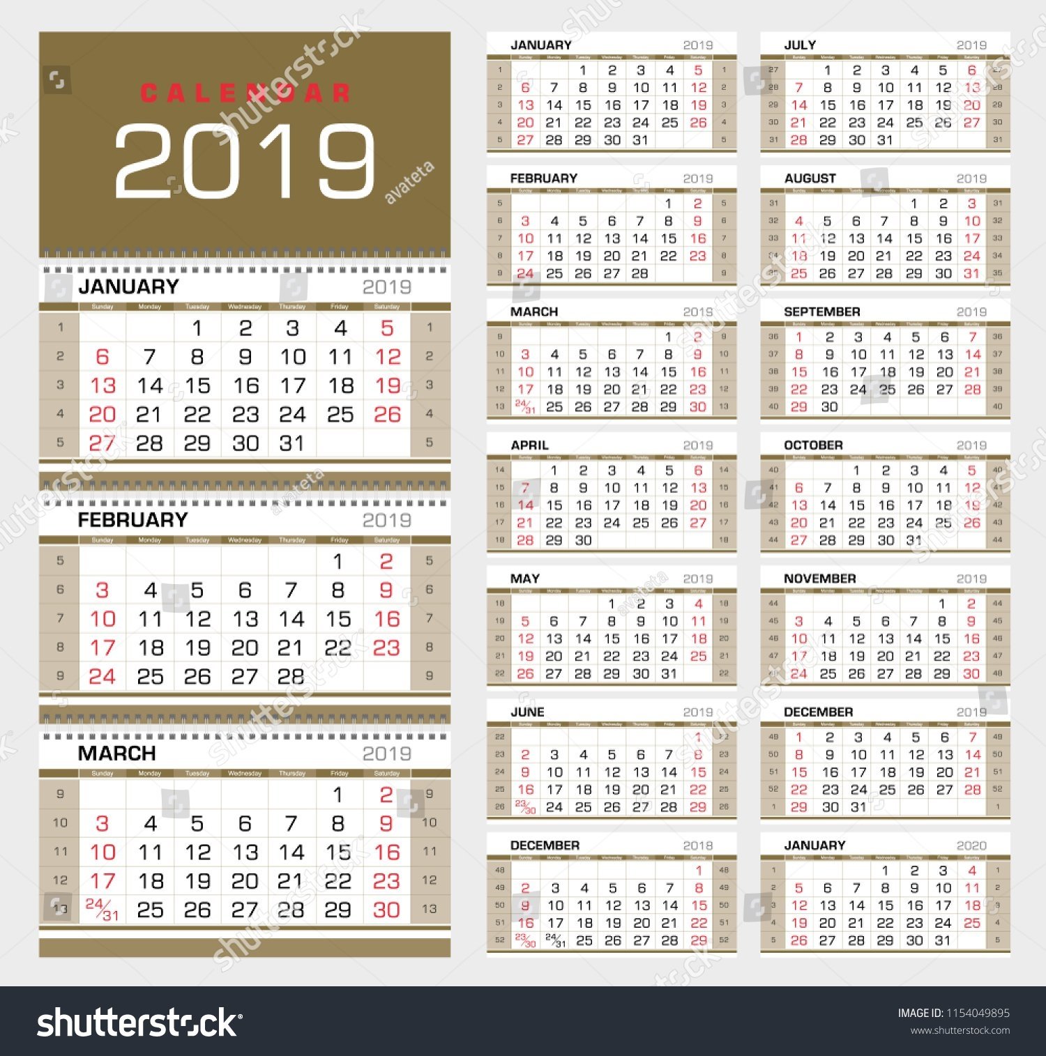 Wall Quarterly Calendar 2019 Week Numbers Stock Vector (Royalty Free Calendar Week 41 2019