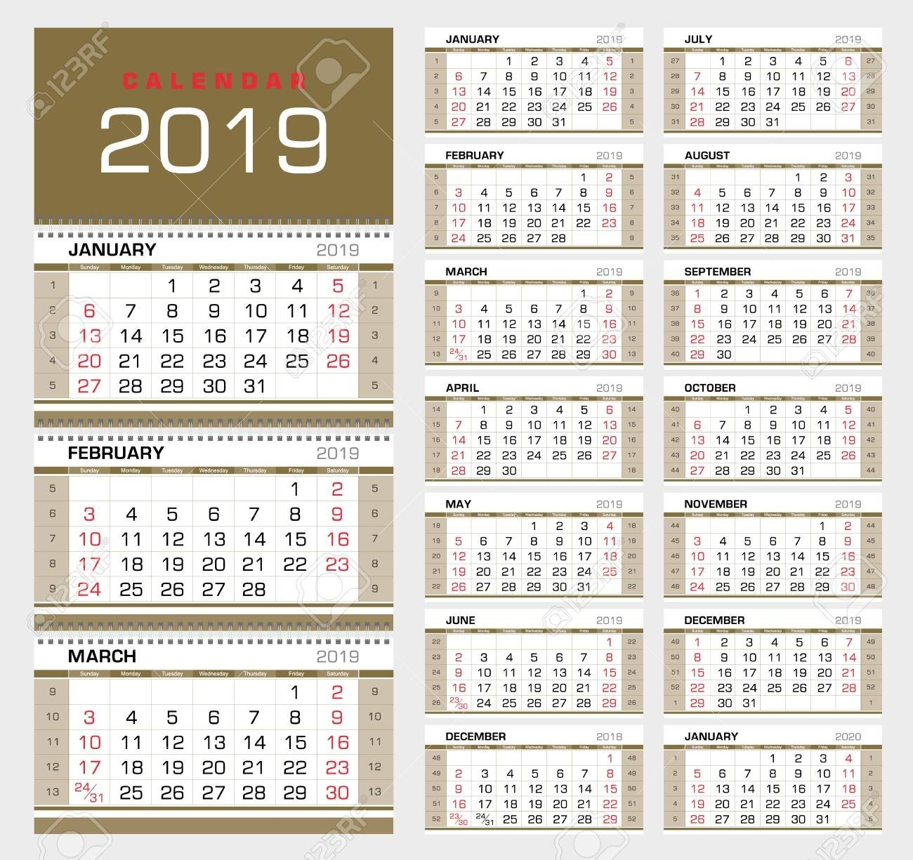 Wall Quarterly Calendar 2019 With Week Numbers. Week Start From Calendar Week 46 2019