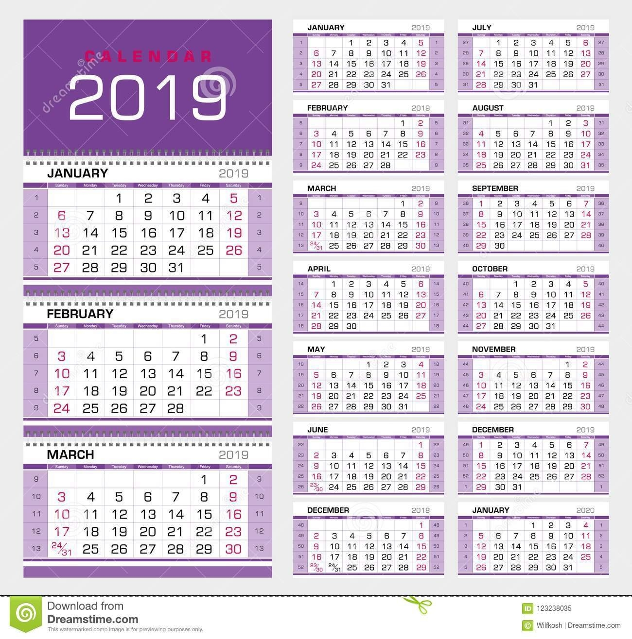 Wall Quarterly Calendar 2019 With Week Numbers. Week Start From Calendar Week 51 2019