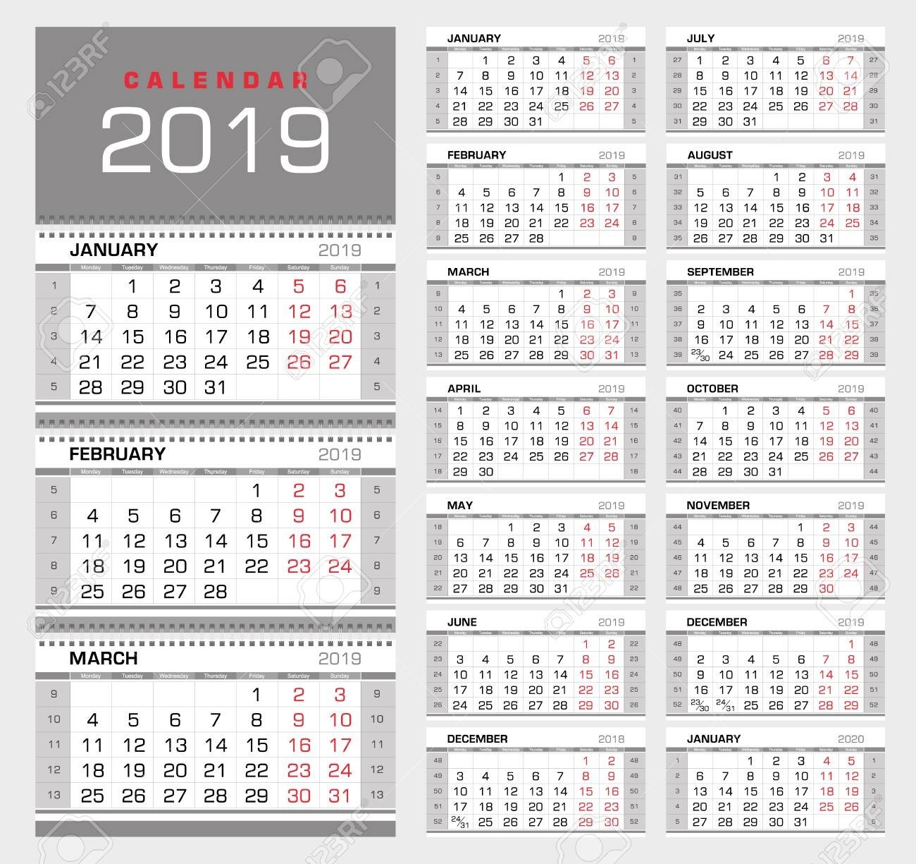 Wall Quarterly Calendar 2019 With Week Numbers. Week Start From Week 9 Calendar 2019