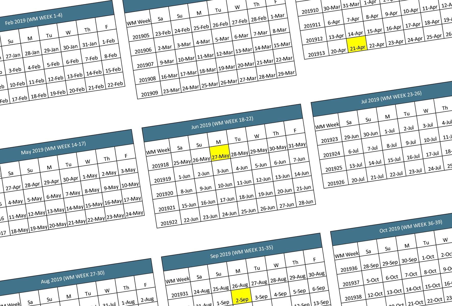 Walmart 2019-2020 Fiscal Calendar | Walmart Supplier News And Resources 2019 Calendar 4-5-4