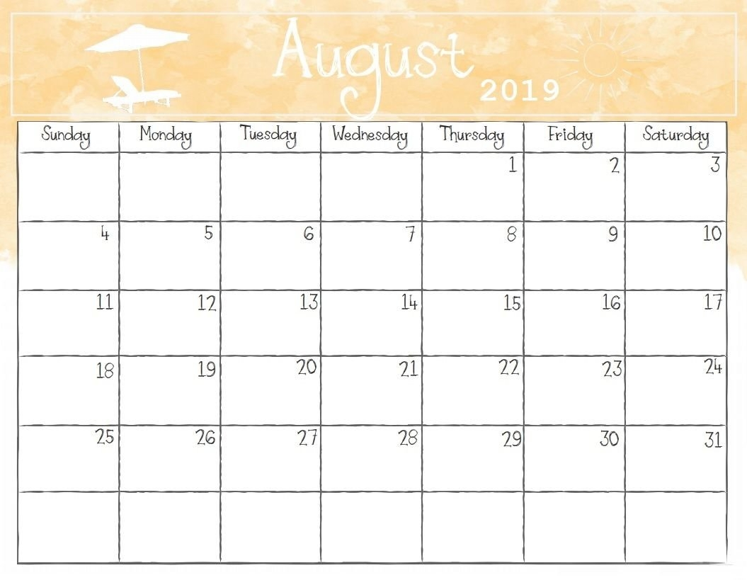 Watercolor August 2019 Calendar | Calendar 2018 | Pinterest Calendar 2019 Schedule