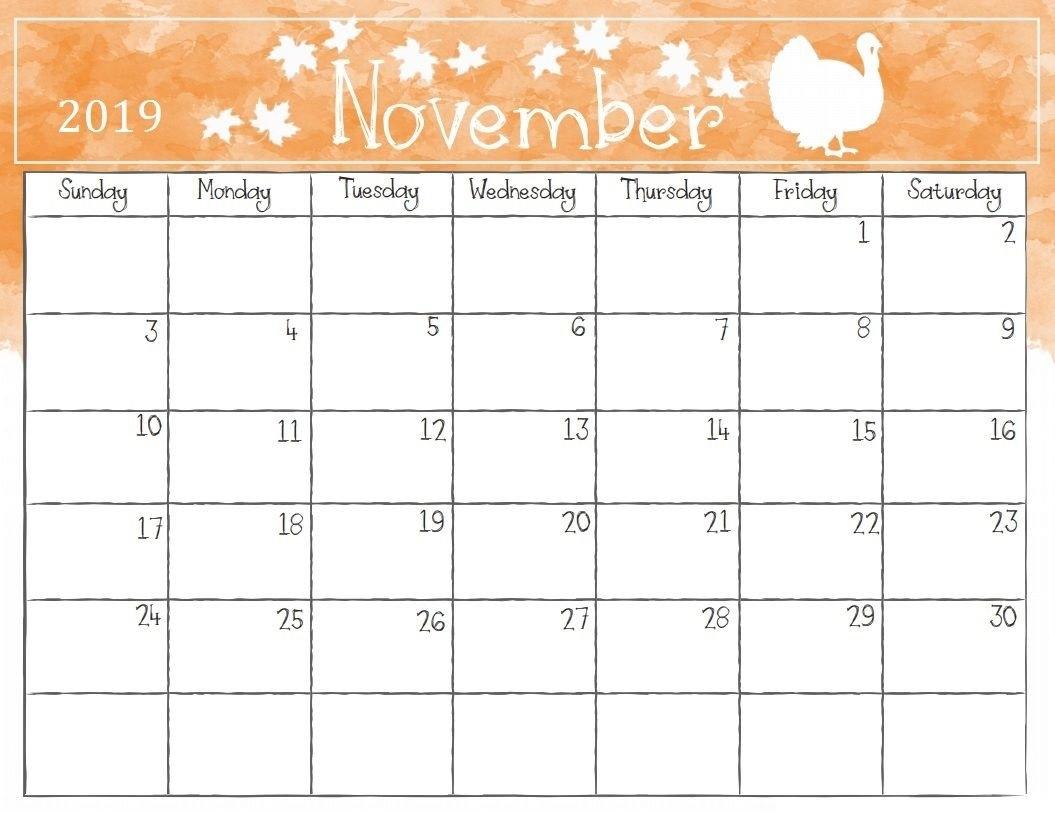 Watercolor November 2019 Calendar | Calendar 2018 | Pinterest Calendar Of 2019 November