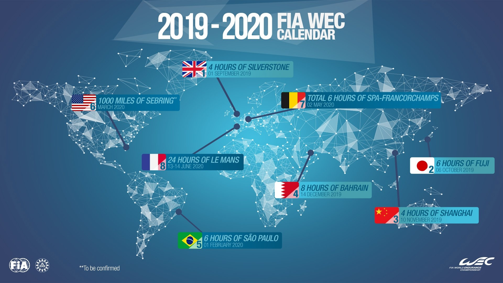Wec - 2019/2020 Fia Wec Calendar Is Approved | Federation Fia Formula E Calendar 2019