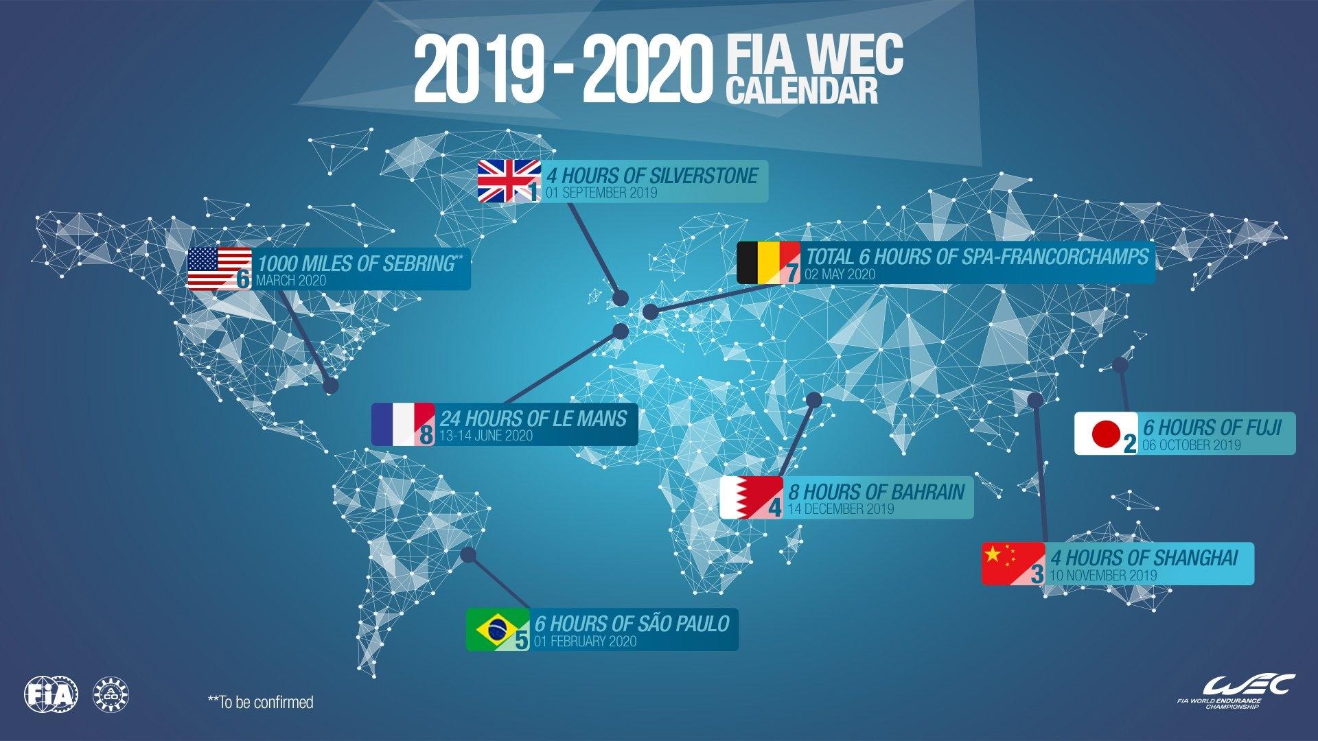 Wec - 2019/2020 Fia Wec Calendar Is Approved | Federation Formula E Calendar 2019