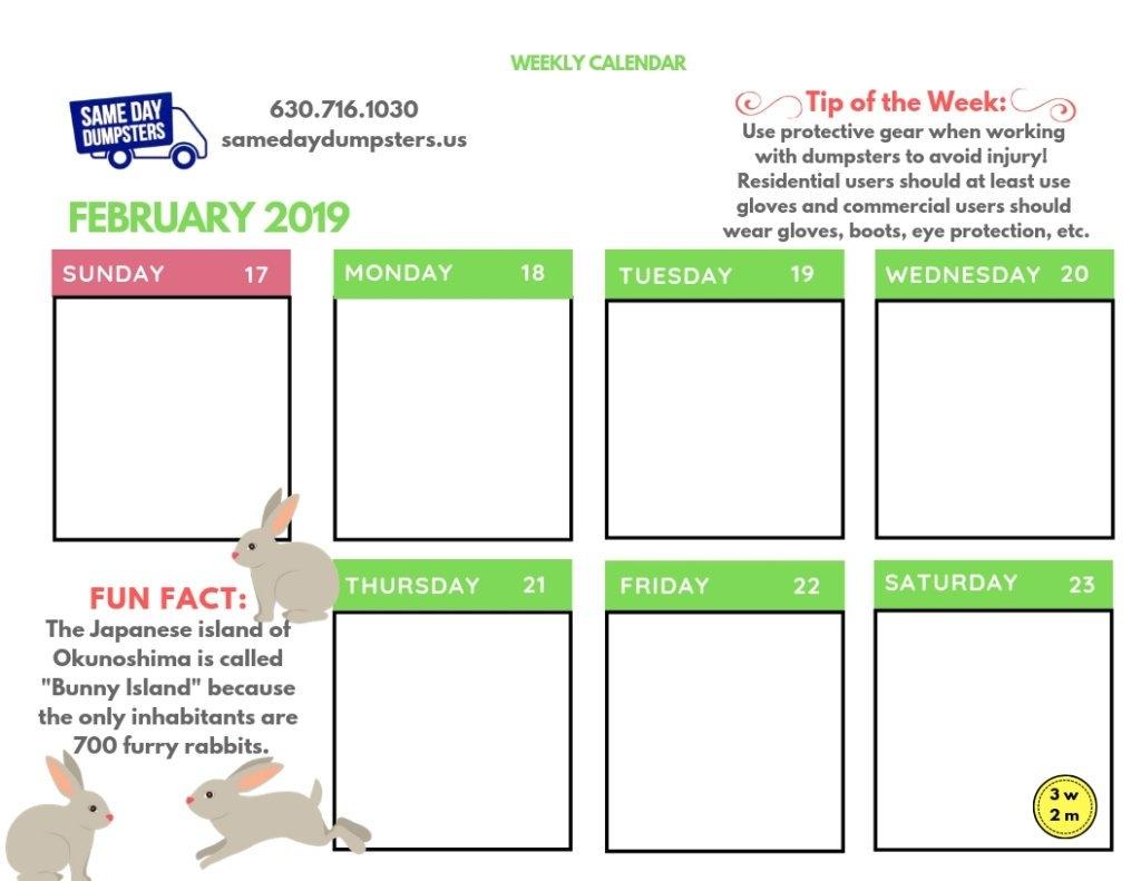 Weekly Calendar 2-2019 Week 3 | Same Day Dumpsters Rental Calendar 2019 Same As