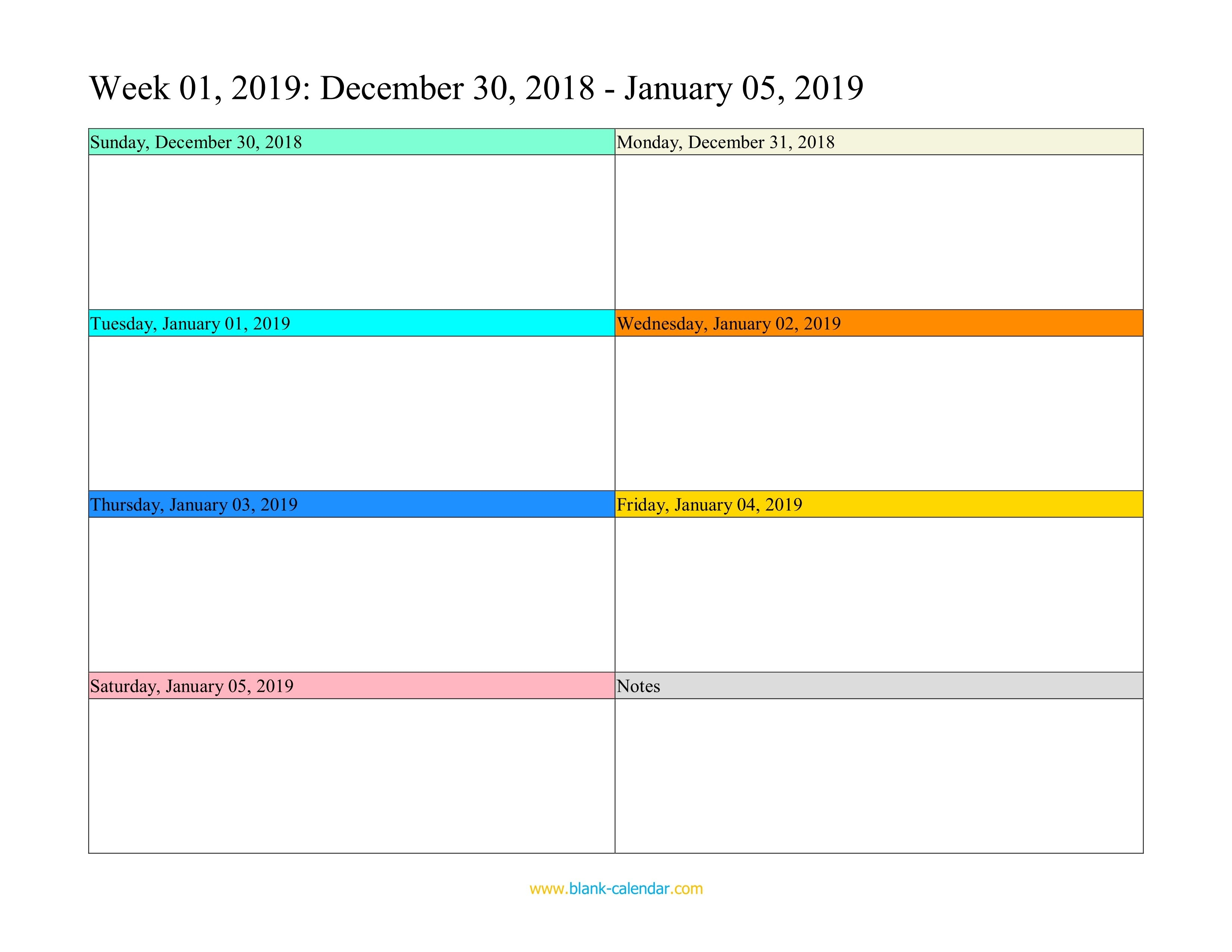 Weekly Calendar 2019 (Word, Excel, Pdf) Calendar 01/2019