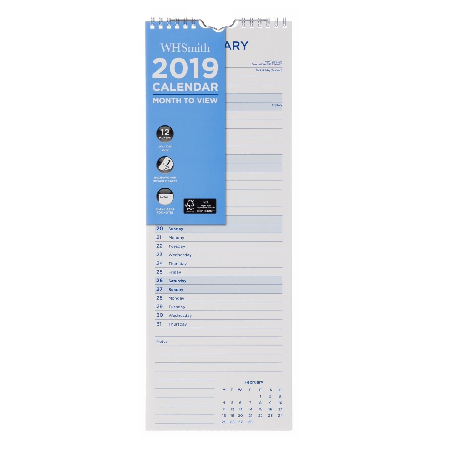 Whsmith Slim Wall Calendar 2019 Month To View Wiro Binding W H Smith Calendar 2019