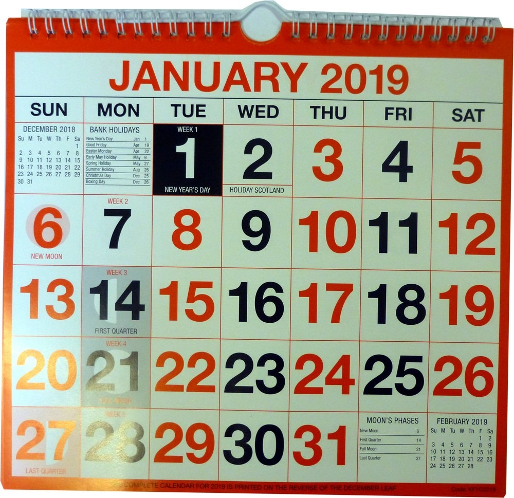 Wirebound Wall Calendar 249Mm X 231Mm Kfyc2219 2019 Letts Yearly Calendar 2019 5-Tyc