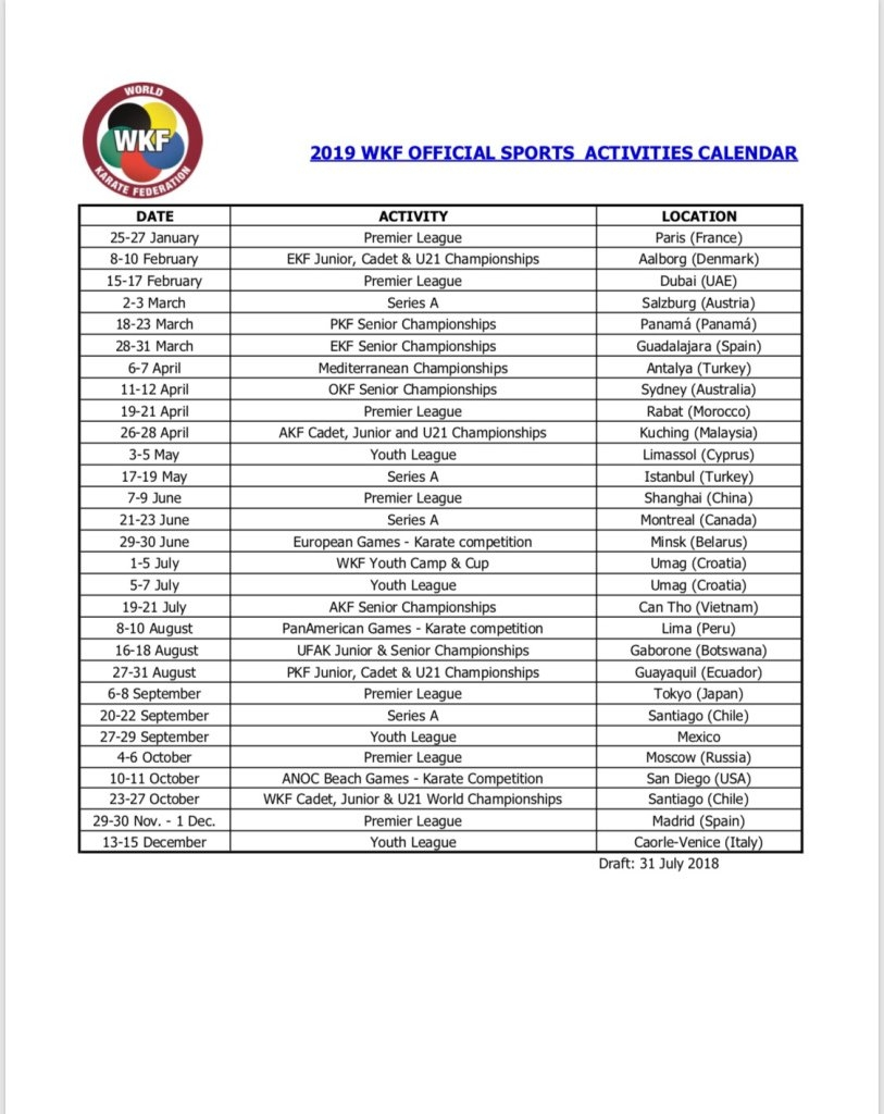 Wkf 2019 Official Calendar Approvedthe Executive Committee Calendar 2019 Mexico