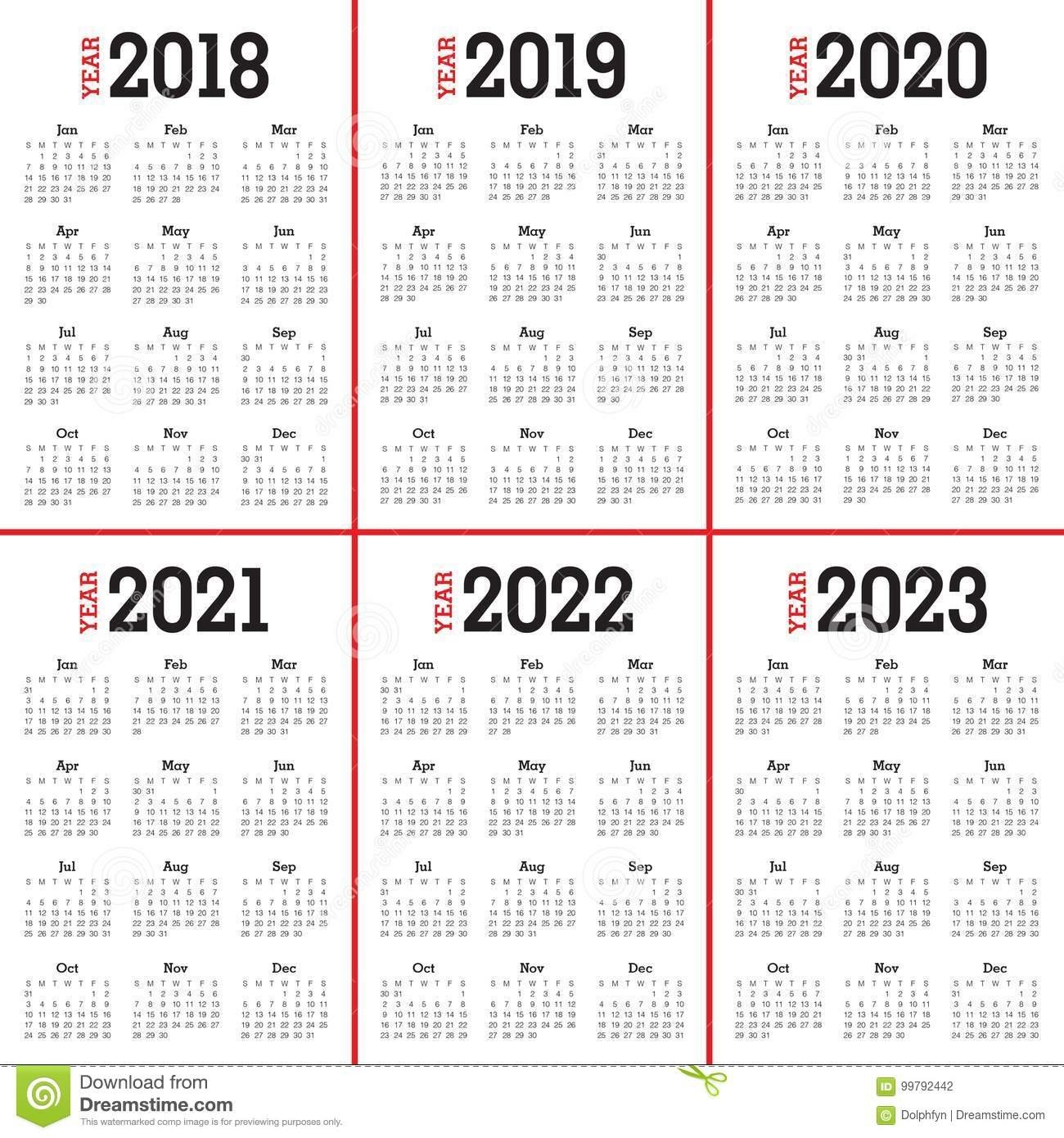 Year 2018 2019 2020 2021 2022 2023 Calendar Vector Stock Vector 5 Year Calendar 2019 To 2023
