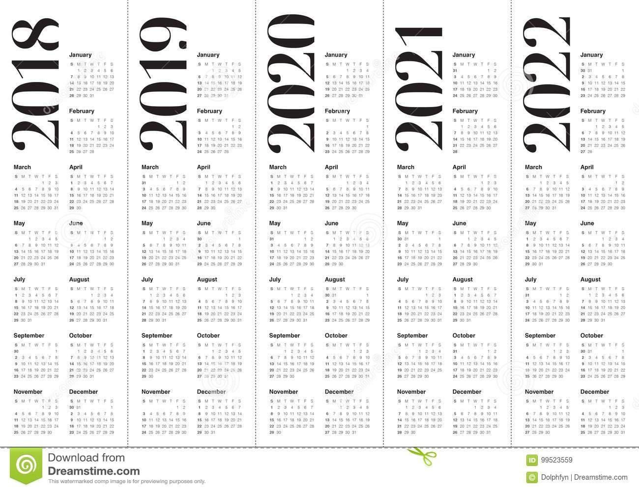 Year 2018 2019 2020 2021 2022 Calendar Vector Stock Vector 4 Year Calendar 2019 To 2022