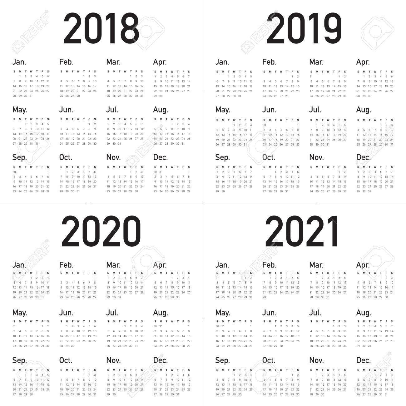 Year 2018 2019 2020 2021 Calendar Vector Design Template, Simple Calendar 2019 And 2020