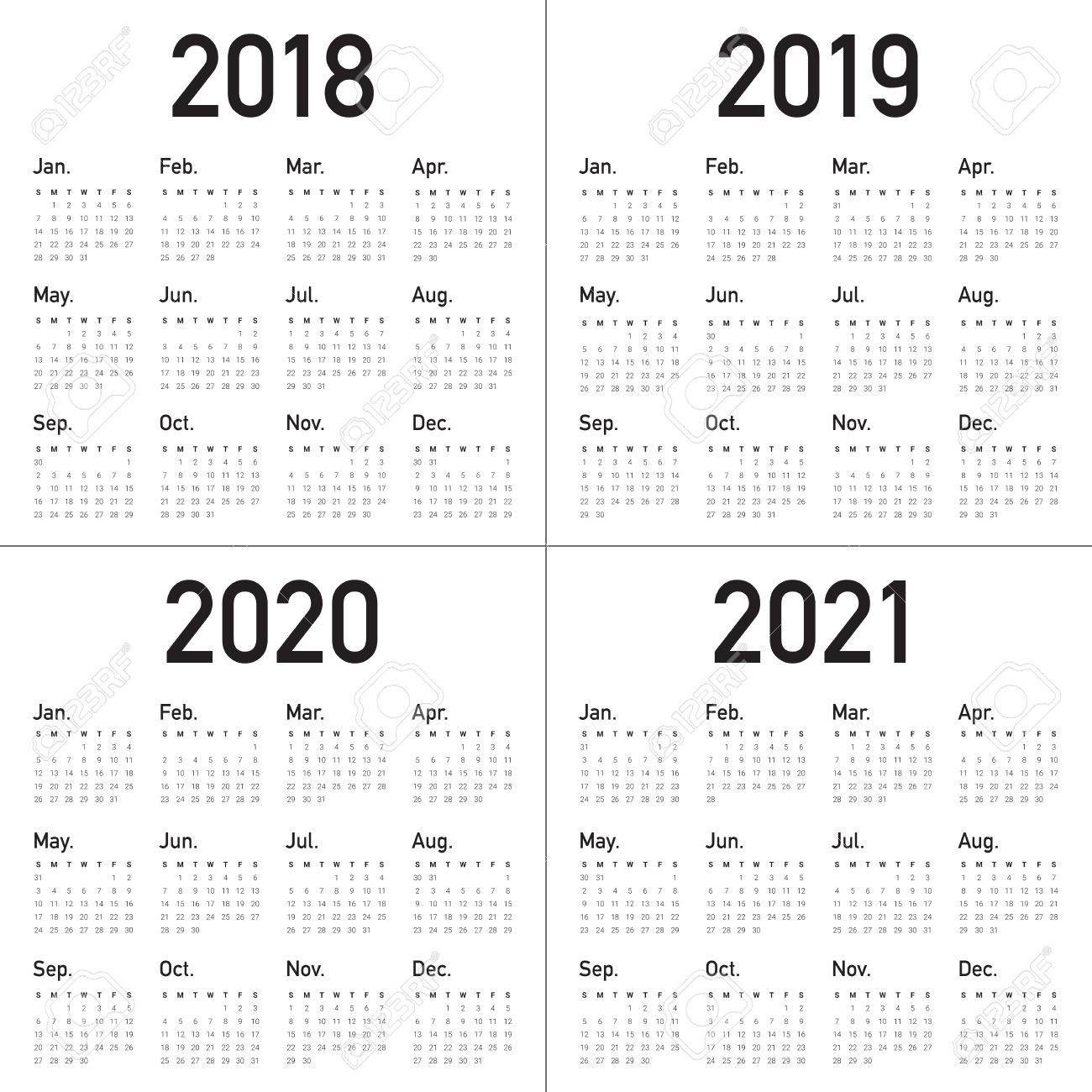 Year 2018 2019 2020 2021 Calendar Vector Design Template, Simple Calendar 2019 To 2020