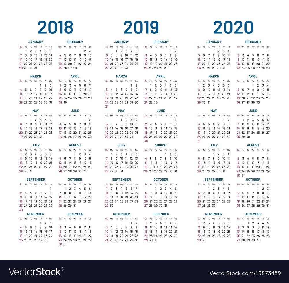 Year 2018 2019 2020 Calendar Royalty Free Vector Image Calendar 2019 To 2020