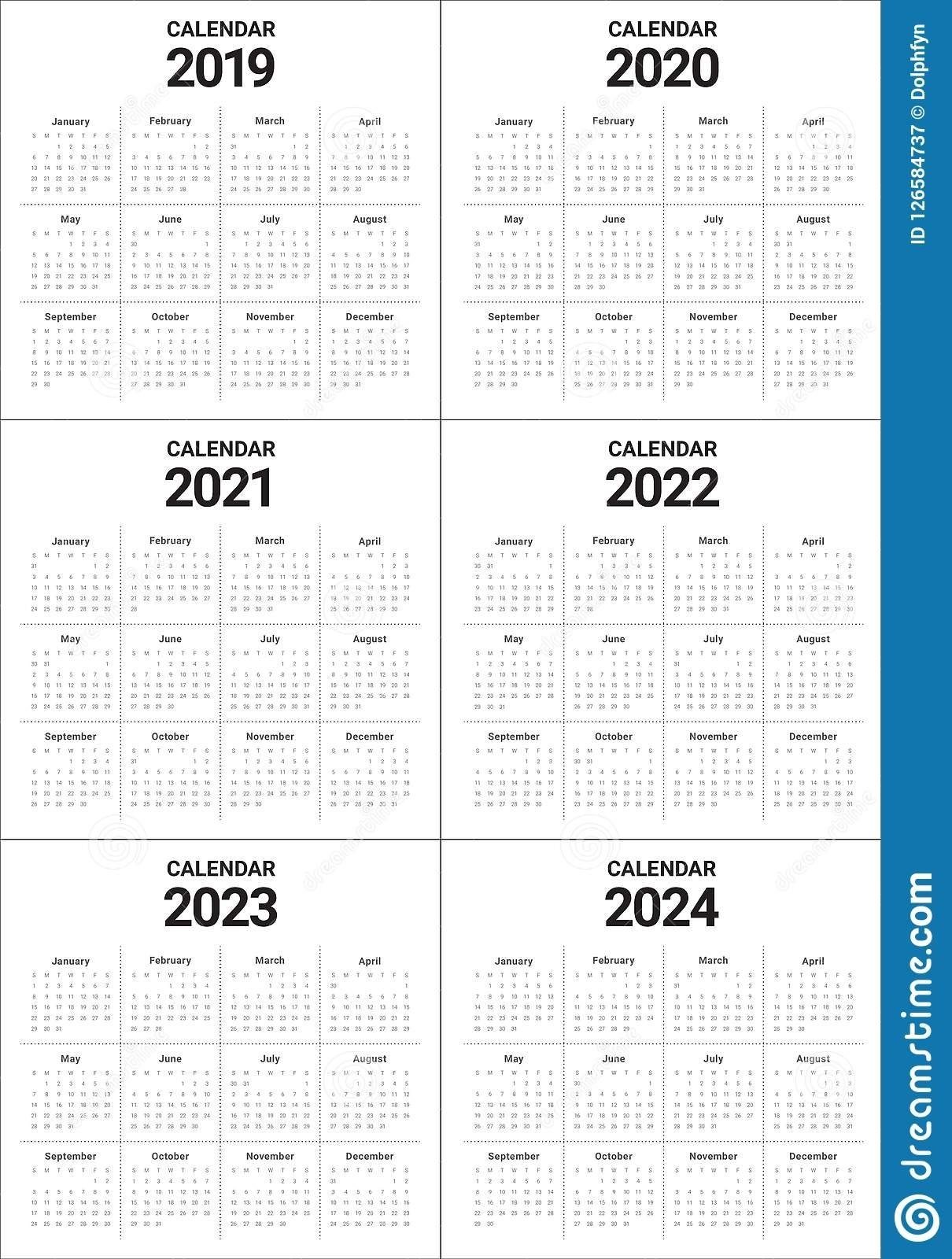 Year 2019 2020 2021 2022 2023 2024 Calendar Vector Design Templa 5 Year Calendar 2019 To 2023