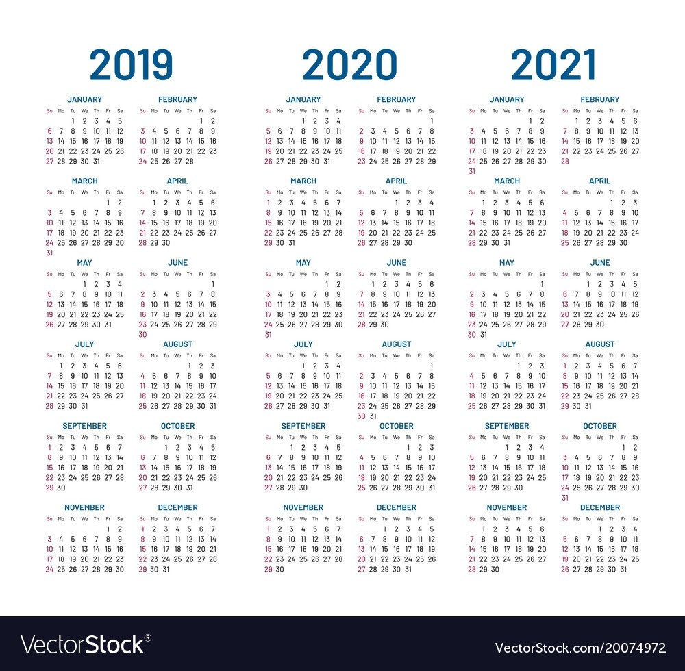 Year 2019 2020 2021 Calendar Royalty Free Vector Image Calendar 2019 To 2021