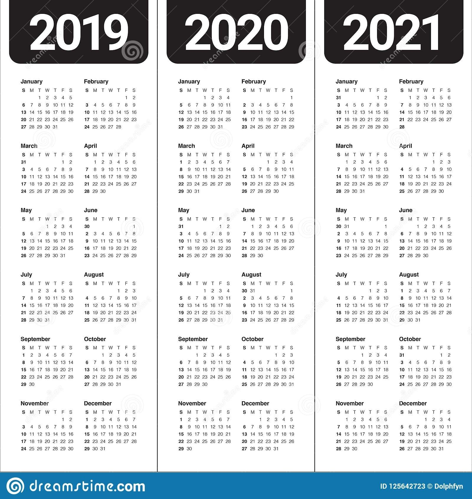 Year 2019 2020 2021 Calendar Vector Design Template Stock Vector 3 Year Calendar 2019 To 2021