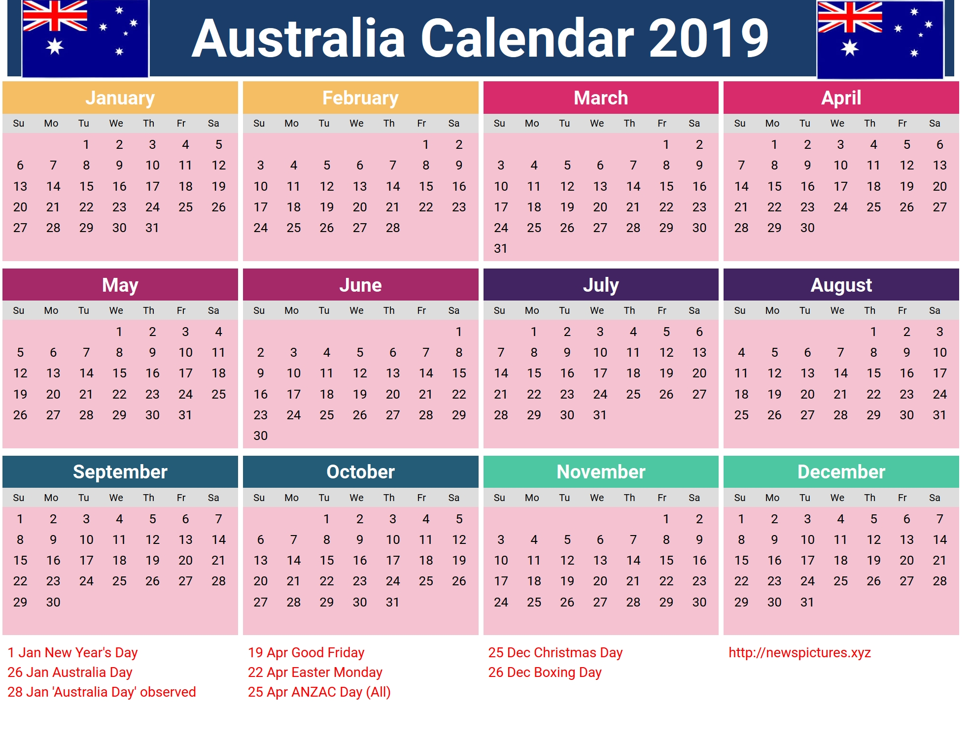 Year 2019 Calendar Australia School Nsw - Littledelhisf Calendar Year 2019 Australia